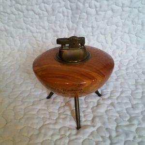 Vintage Mid Century Modern Wood Metal Lighter UFO